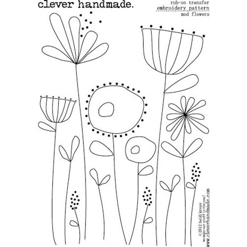 Clever Handmade Embroidery Patterns Rub Ons Mod Flowers