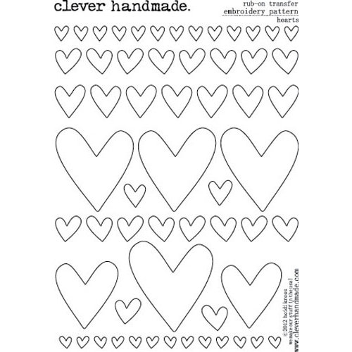Clever Handmade - Embroidery Patterns - Rub Ons - Hearts