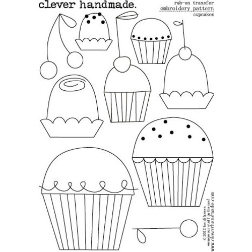 Clever Handmade - Embroidery Patterns - Rub Ons - Cupcakes