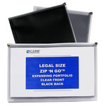 C-Line - Zip 'N Go - Expanding Portfolio - Legal Size - Black and Clear - 5 Pack