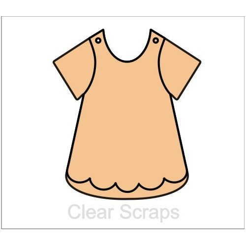 Clear Scraps - Chipboard Album - Girls Bib Dress
