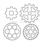 Clear Scraps - Clear Acrylic Shapes - Gears