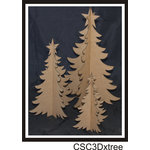 Clear Scraps - 3 Dimensional Chipboard Embellishments - Christmas Trees
