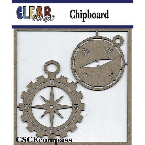 Clear Scraps - Chipboard Embellishments - Compasses