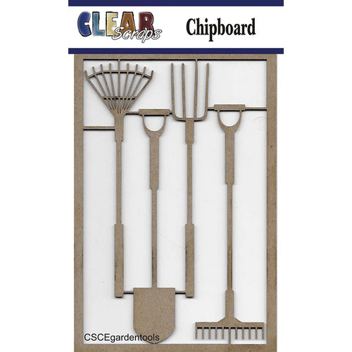 Clear Scraps - Chipboard Embellishments - Garden Tools