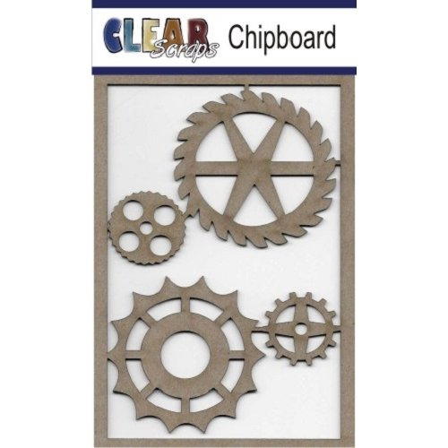 Clear Scraps - Chipboard Embellishments - Wheel Gears