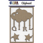 Clear Scraps - Chipboard Embellishments - Girl Cloud