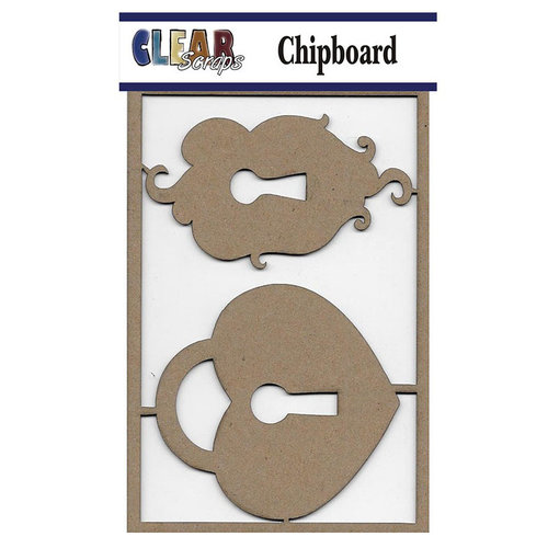 Clear Scraps - Chipboard Embellishments - Heart Locks