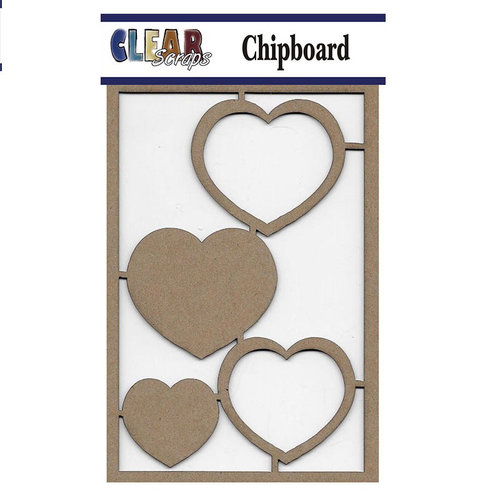 Clear Scraps - Chipboard Embellishments - Hearts
