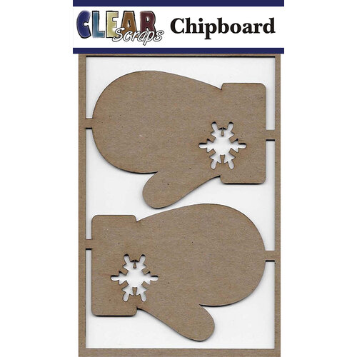 Clear Scraps - Chipboard Embellishments - Mittens