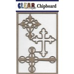 Clear Scraps - Chipboard Embellishments - Mixed Crosses