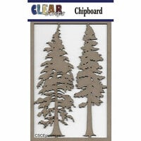 Clear Scraps - Christmas - Chipboard Embellishments - Pine Trees