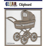 Clear Scraps - Chipboard Embellishments - Baby Stroller