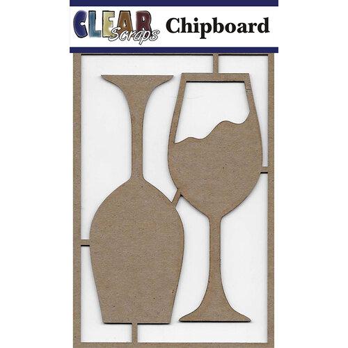Clear Scraps - Chipboard Embellishments - Wine Glasses