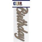 Clear Scraps - Chipboard Embellishments - Word - Script - Birthday