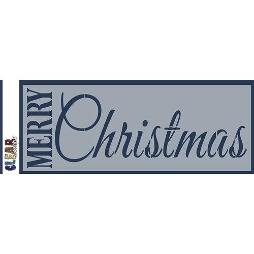 Clear Scraps - Mascils - 6 x 16 Masking Stencil - Merry Christmas