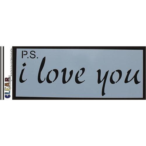 Clear Scraps - Mascils - 6 x 16 Masking Stencil - PS I Love You