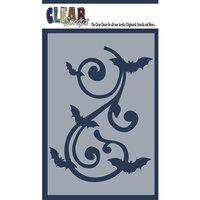 Clear Scraps - Halloween - Mascils - 4 x 6 Masking Stencil - Bat Swirl
