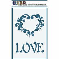 Clear Scraps - Mascils - 4 x 6 Masking Stencil - Love Heart