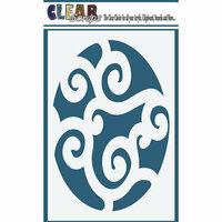 Clear Scraps - Mascils - 4 x 6 Masking Stencil - Swirl Egg