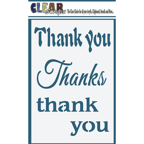Clear Scraps - Mascils - 4 x 6 Masking Stencil - Thank You