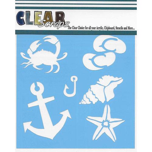Clear Scraps - Mascils - 12 x 12 Masking Stencil - Beach Fun