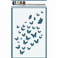 Clear Scraps - Mascils - 4 x 6 Masking Stencil - Butterfly Flock