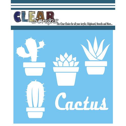 Clear Scraps - Mascils - 12 x 12 - Masking Stencil - Cactus Pots