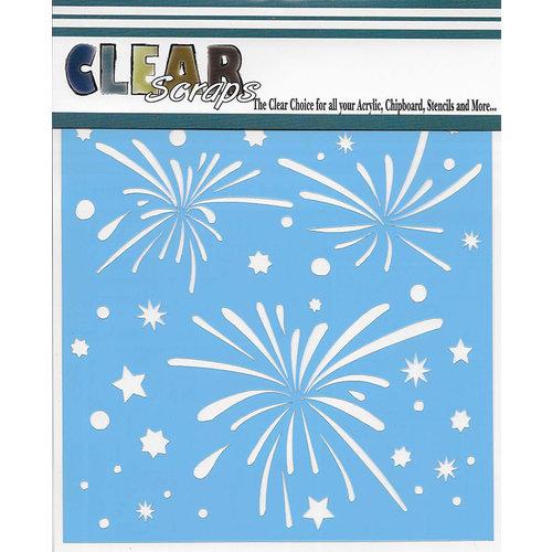 Clear Scraps - Mascils - 12 x 12 Masking Stencil - Fireworks Splash