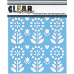 Clear Scraps - Mascils - 12 x 12 Masking Stencil - Folk Flowers
