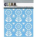 Clear Scraps - Mascils - 6 x 6 Masking Stencil - Folk Flowers