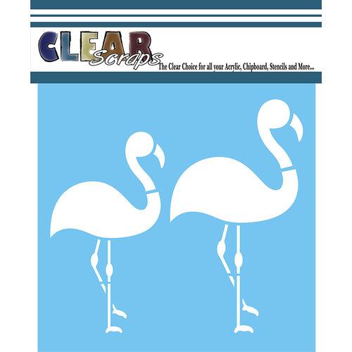 Clear Scraps - Mascils - 12 x 12 - Masking Stencil - Flamingos