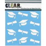Clear Scraps - Mascils - 12 x 12 Masking Stencil - Graduation Hats and Diplomas