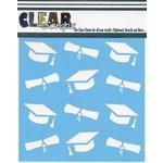 Clear Scraps - Mascils - 12 x 12 Masking Stencil - Graduation Hats and Diplomas