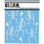 Clear Scraps - Halloween - Mascils - 6 x 6 Masking Stencil - Happy Skeletons