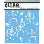 Clear Scraps - Halloween - Mascils - 6 x 6 Masking Stencil - Happy Skeletons