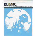 Clear Scraps - Halloween - Mascils - 12 x 12 Masking Stencil - Haunted House