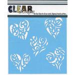 Clear Scraps - Mascils - 12 x 12 Masking Stencil - Heart Clusters
