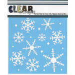 Clear Scraps - Christmas - Mascils - 12 x 12 Masking Stencil - Ice Crystal Snowflakes