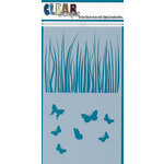 Clear Scraps - Mascils - 5 x 9 Layering Masking Stencil - Grass with Butterflies