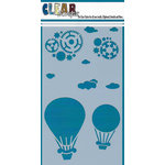 Clear Scraps - Mascils - 5 x 9 Layering Masking Stencil - Steampunk Balloons