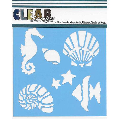 Clear Scraps - Mascils - 6 x 6 Masking Stencil - Ocean Friends