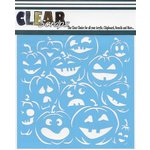 Clear Scraps - Mascils - Halloween - 6 x 6 Masking Stencil - Pumpkin Faces