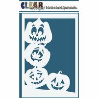 Clear Scraps - Halloween - Mascils - 4 x 6 Masking Stencil - Pumpkin Faces