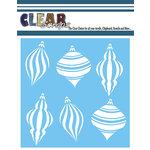 Clear Scraps - Mascils - Christmas - 12 x 12 Masking Stencil - Spiral X-Mas Bulbs
