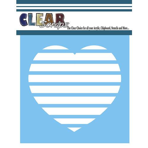 Clear Scraps - Mascils - 12 x 12 Masking Stencil - Stripe Heart