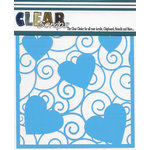 Clear Scraps - Mascils - 6 x 6 Masking Stencil - Swirl Hearts