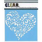 Clear Scraps - Mascils - 6 x 6 Masking Stencil - Swirl Heart