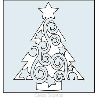 Clear Scraps   Mascils   12 X 12 Masking Stencil   Swirl Christmas Tree