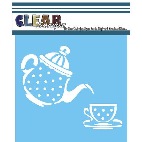 Clear Scraps - Mascils - 6 x 6 - Masking Stencil - Tea Time
